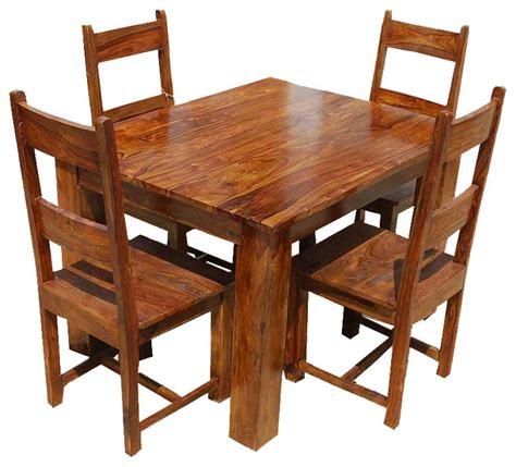 Rustic Dining Set by Rustic Mission Santa Solid Wood Dining Set For 4