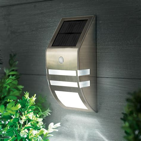 led solar flush wall light with pir sensor stainless