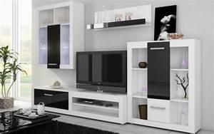 Meuble Salon Noir : achat ensemble complet meuble mural tv moderne viki finitions blanc et noir brillant ~ Teatrodelosmanantiales.com Idées de Décoration