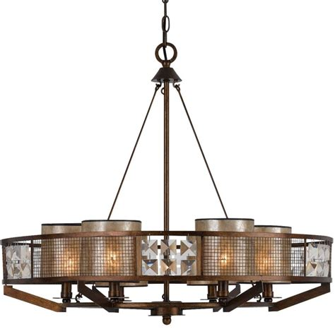 Mica Chandelier by Forged Iron Wood Chandelier Mica Shades Fx 3557 6