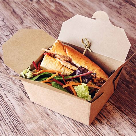 cuisine to go kraft compostable food to go takeaway box 125x115mm