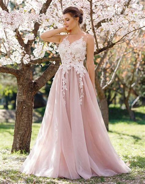 6585 pink lace wedding dress light pink lace applique prom dress evening dress 6585