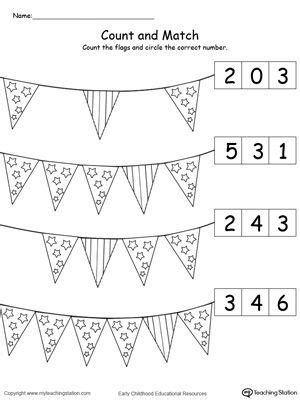 patriotic count  match  number  flags numbers