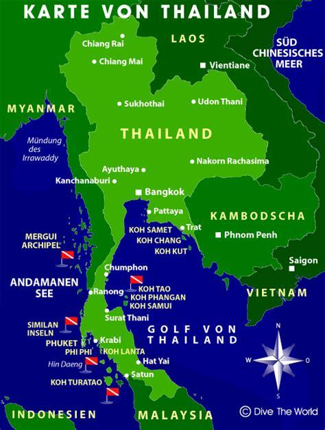 Karte von Thailand - Dive The World Karten