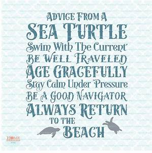 Advice From A Sea Turtle sign svg Ocean svg by