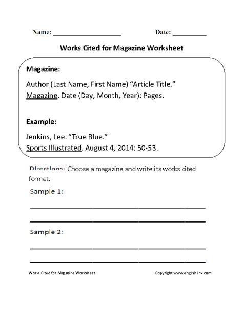 works cited worksheets works cited for magazine worksheet