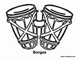 Bongos Coloring Percussion Drums Template sketch template