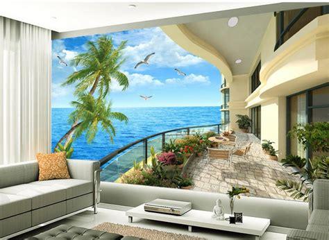 Balcony Tv Setting Wall Scenery 3d Room Wallpaper