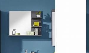miroir avec tablettes gris pour salle de bain moderne banita With miroir moderne salle de bain