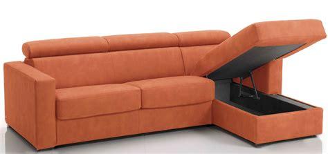 canapé orange canapé d 39 angle convertible avec têtières revêtement
