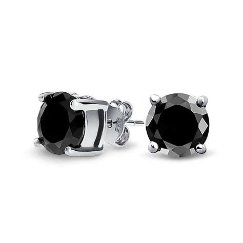 Carpet From The Shining For Sale by Unisex Cz Round Black Stud Earrings 925 Sterling Silver