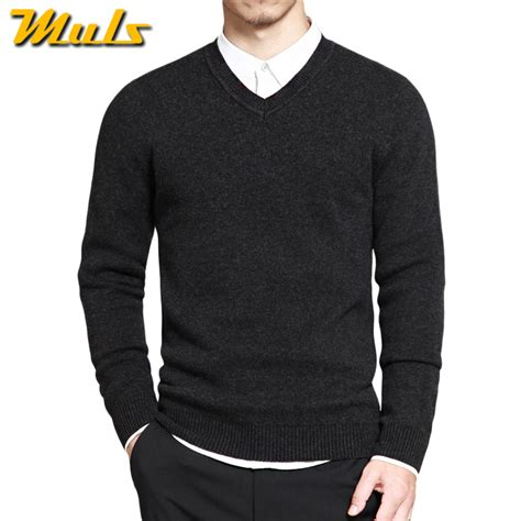 sleeve sweater mens muls mens pullover sweaters simple style cotton knitted v