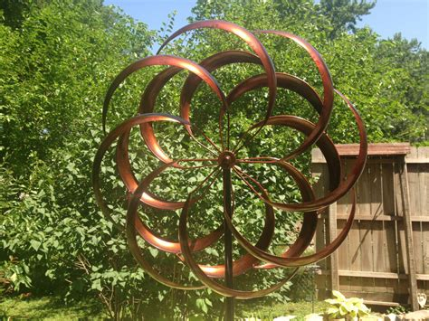 Large Ft Kinetic Wind Sculpture Modern Art Dual Spinner