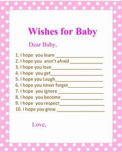 5 best images of printable baby shower wishes free With wishes for baby template printable