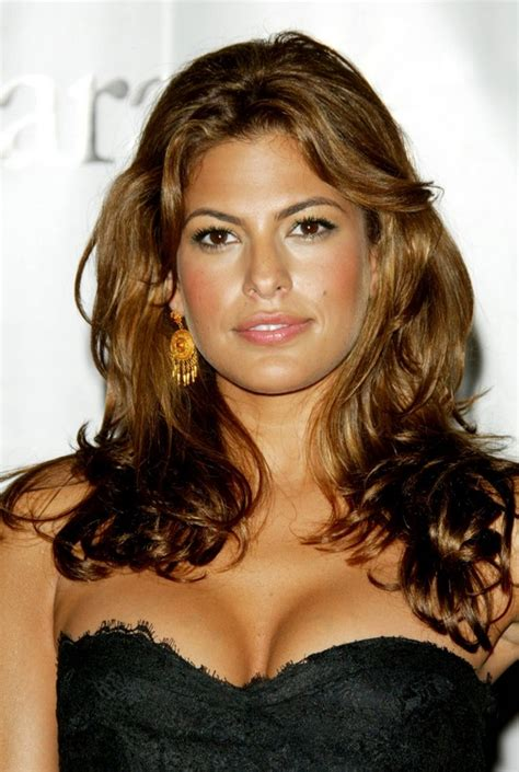long brown wavy hairstyle  thick hair eva mendes