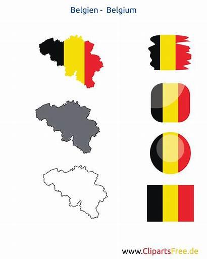 Belgien Karte Fahne Icon Kontur Flagge Belgium