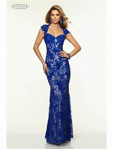 Paparazzi 97038 By Mori Lee Beaded Stretch Lace Royal Blue ...
