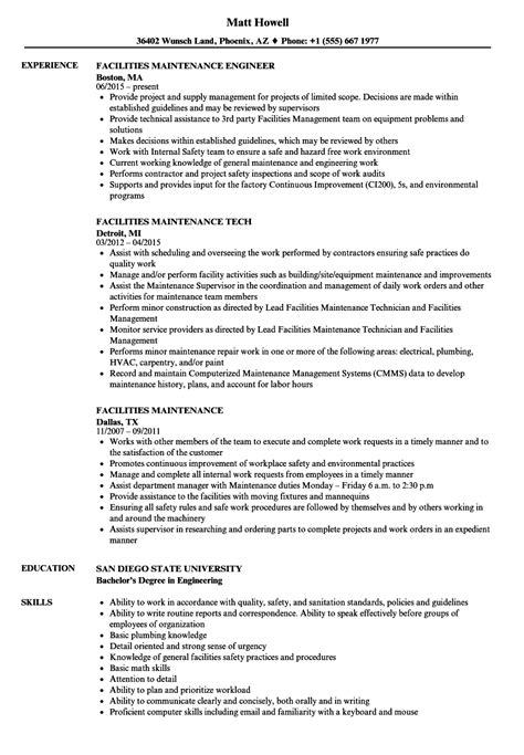 Resume For Maintenance by Facilities Maintenance Resume Sles Velvet