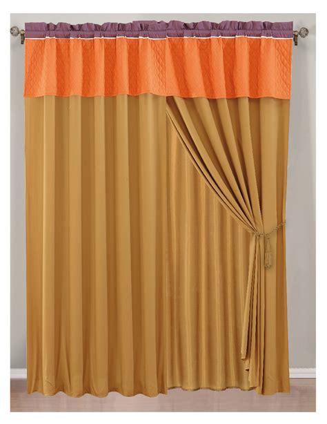 orange purple curtain set w valance sheer tassels