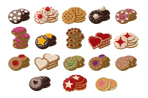Cookies Of Cartoon Vector Food Icons
