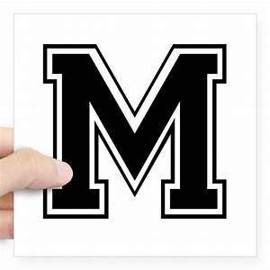 varsity letter m square sticker by admin cp2574929 With varsity letter m
