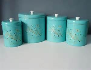 Turquoise Kitchen Canister Set by Turquoise Kitchen Canister Set From The 1950s