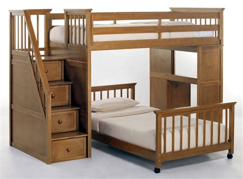 loft bed with bunk bed with stairs and desk plans furnitureplans