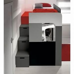 Lit Avec Bureau : lit mezzanine pong avec bureau et biblioth que achat vente chambre complete pas cher couleur ~ Teatrodelosmanantiales.com Idées de Décoration