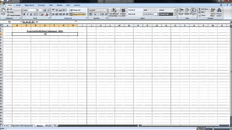 create  projected profit  loss statement