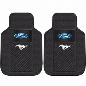 2pc Ford Mustang Black Front Rubber Floor Mats Universal Made in USA New | eBay