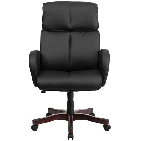 upholstered desk chair with arms high back black leather executive swivel office chair with