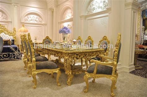 Antique Carved Dining Table Set, Gorgeous Luxury Glass Top