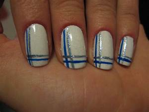 Homemade nails white with blue lines