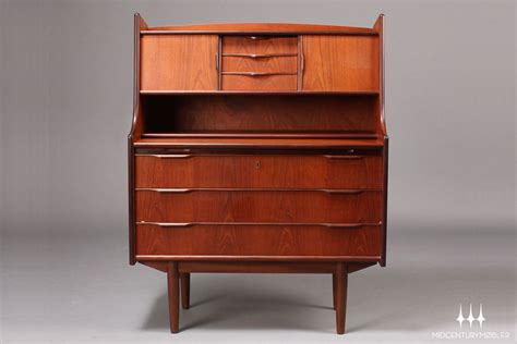 mid century secretary desk danish modern arched top teak secretary desk mid century