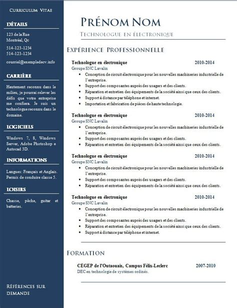 Exemple Format Cv by Exemple Format Cv Lusocarrelage