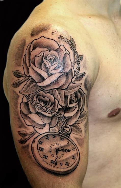 wonderful grey ink clock tattoos