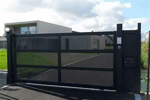Portail En Aluminium : portail alu noir motorisation portail coulissant ~ Melissatoandfro.com Idées de Décoration