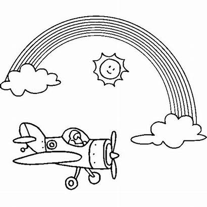 Rainbow Coloring Pages Sunny Airplane Flying Colouring