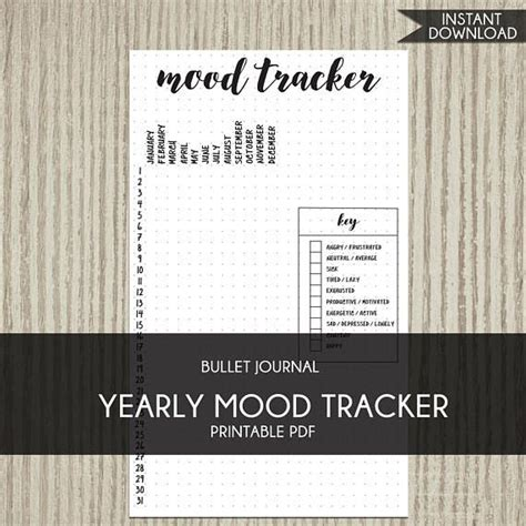 bullet journal template printable planner yearly mood