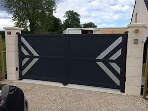 Portail Coulissant 2 Vantaux : portail alu battant isker portail contemporain battant ~ Edinachiropracticcenter.com Idées de Décoration