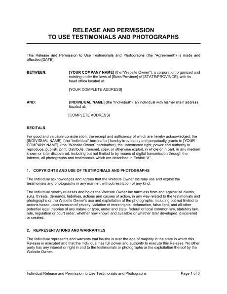 release  permission   testimonial  photographs