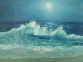 Moon Over Ocean Painting