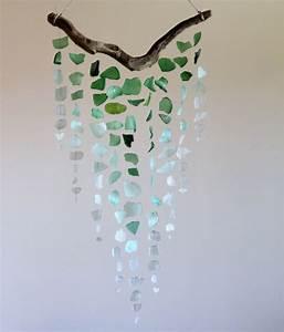 Sea Glass Driftwood Mobile OMBRE Green Aquamarine