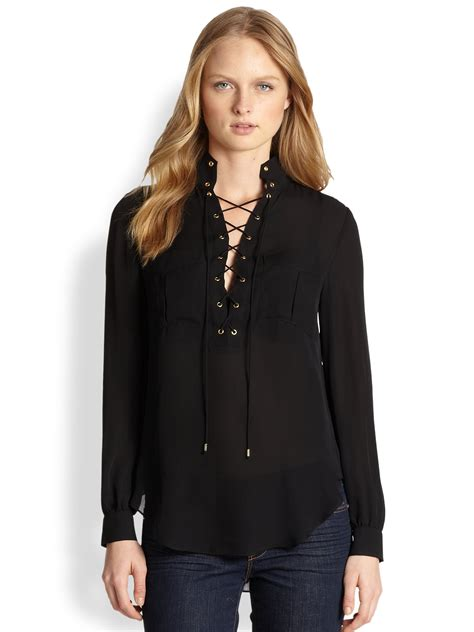 lace up blouses haute hippie laceup blouse in black lyst