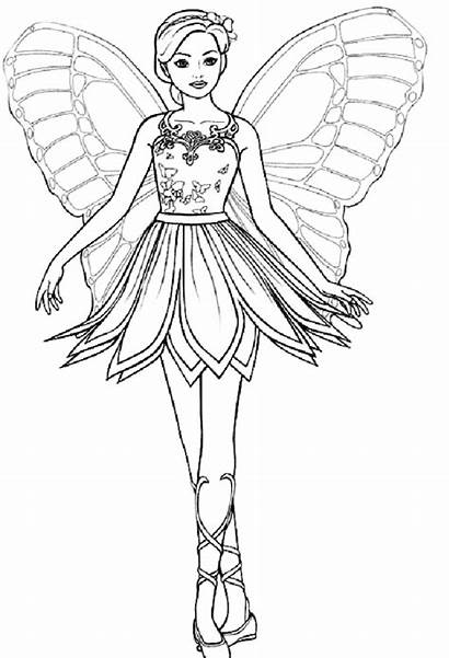 Coloring Pages Fairy Pretty Barbie Printable Princess