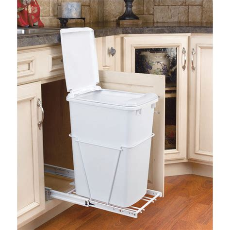 Cabinet Trash Can With Lid by Rev A Shelf Single Pull Out Waste Containers With Lids