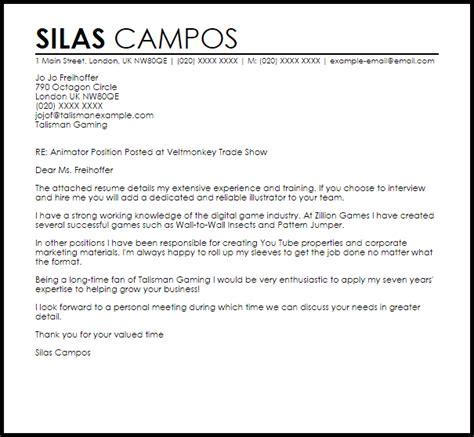 Animator Resume Free by Animator Cover Letter Sle Livecareer