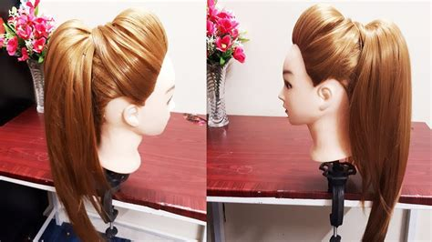 high ponytail with puff hairstyle diy easy hairstyle for college work party youtube