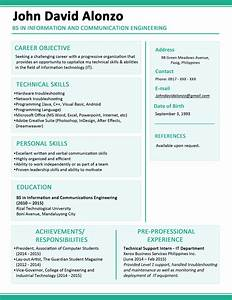 sample resume format for fresh graduates one page format With all resume format