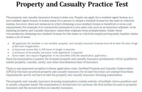 property  casualty practice test template haven